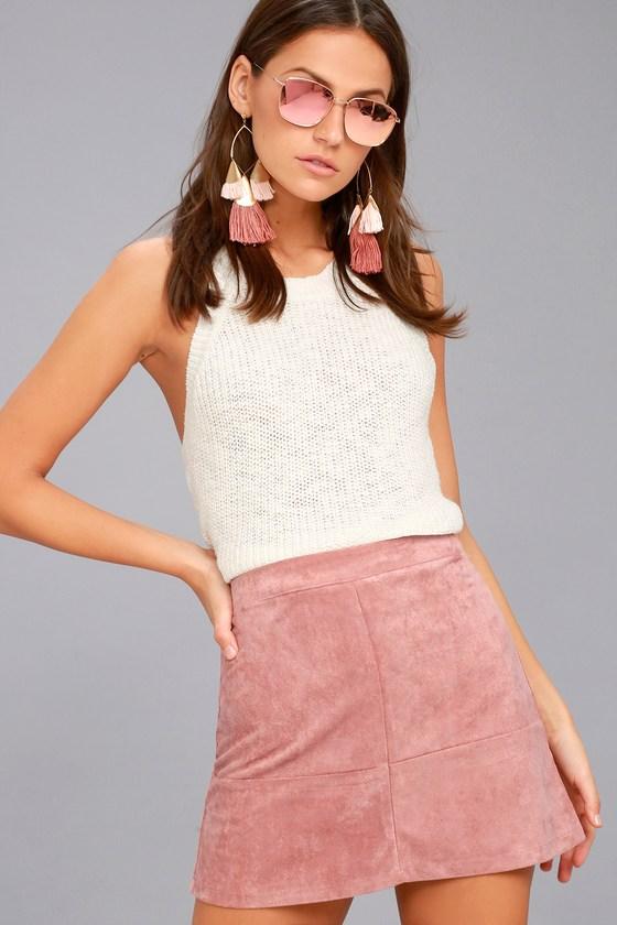 Shenandoah Mauve Suede Mini Skirt 9