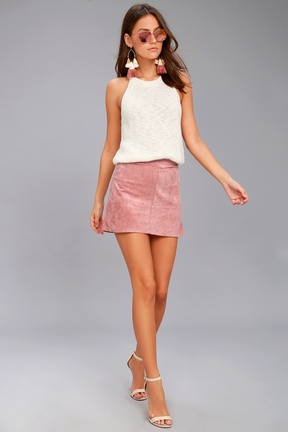 Mauve Skirt - Suede Skirt - Mini Skirt - A-Line Skirt