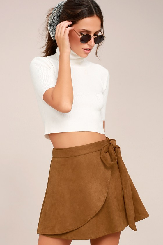 Wrap to It Tan Suede Wrap Skirt 2