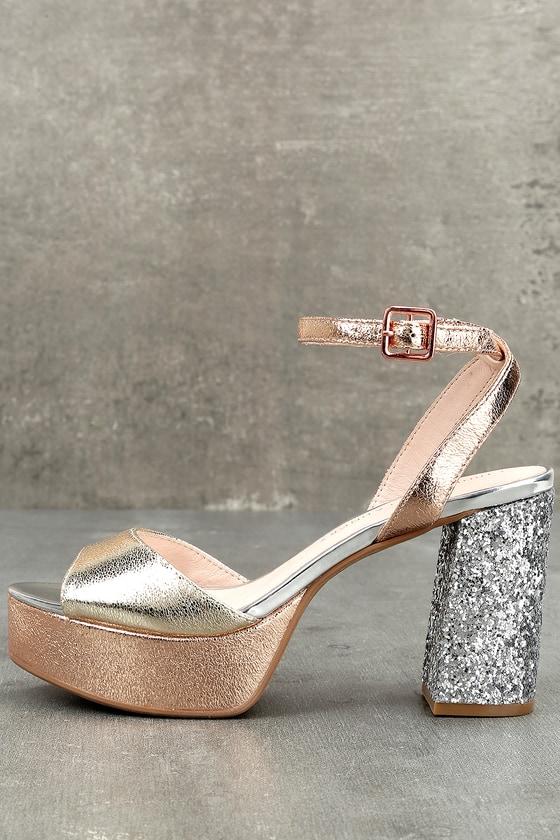 Chinese Laundry Tayla Rose Gold Leather Platform Heels 2