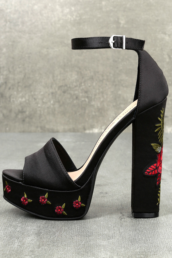 be3698834 Chinese Laundry Amy - Black Satin Heels - Embroidered Heels
