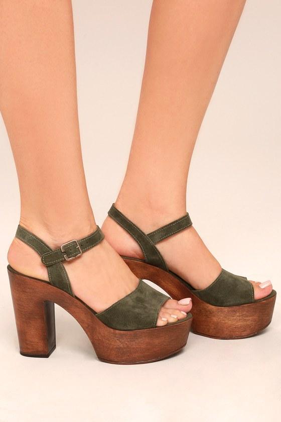 7a41e725556 Steve Madden Lulla - Olive Green Platforms - Suede Heels