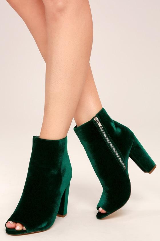 Millie Olive Velvet Peep-Toe Ankle Booties 2