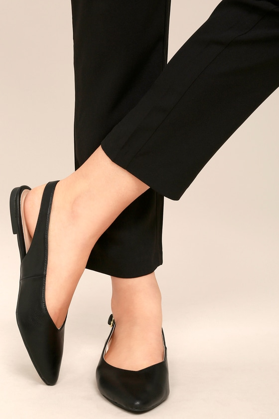 65cedc07c85 Pointed Black Flats - Vegan Leather Flats - Slingback Flats