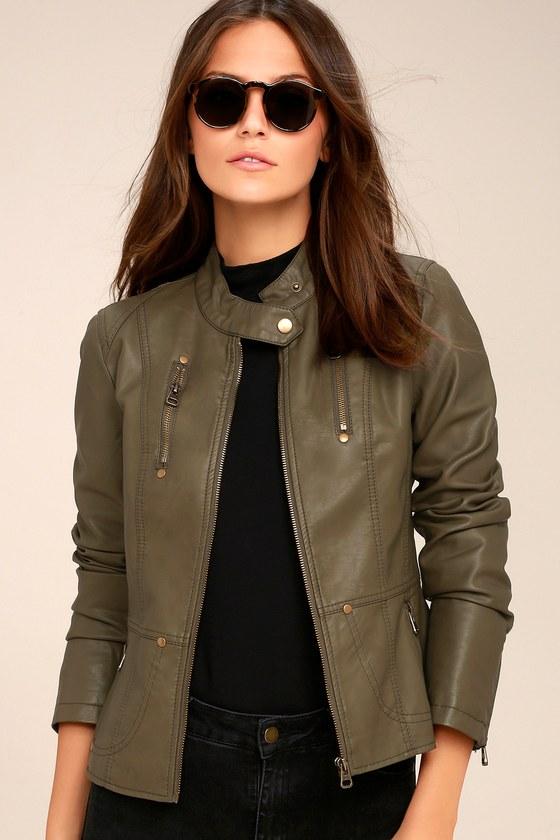 Chic Olive Green Jacket Moto Jacket Vegan Leather Jacket