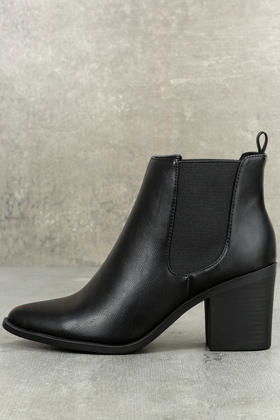 1fec025c389 Chic Black Ankle Booties - Pointed Toe Booties - Ankle Boots