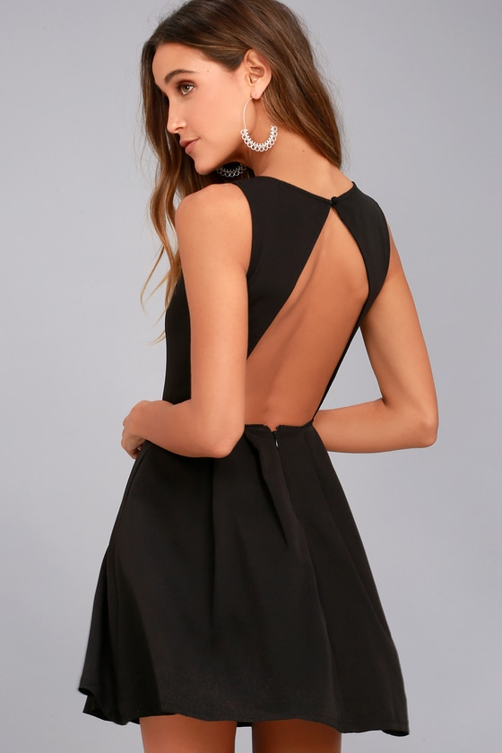 Chic Skater Dress - Black Dress - Backless Dress - LBD
