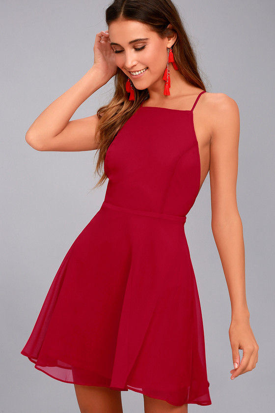 e0d6c39f13c Lovely Red Dress - Skater Dress - Fit and Flare Dress