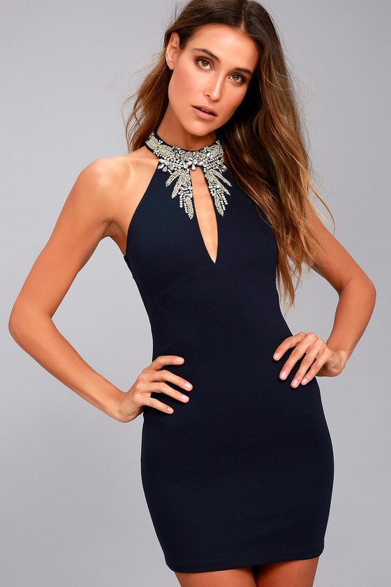Alluring Evening Navy Blue Beaded Bodycon Dress 5