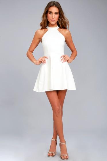 1708ec7c15 Chic White Dress - Skater Dress - Lace Dress - Halter Dress