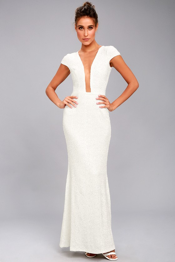 b77bd6921692 Dress the Population Michelle - White Sequin Maxi Dress