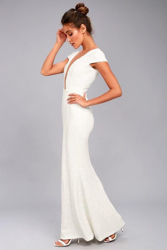 ba2ae6fa0e4c Dress the Population Michelle - White Sequin Maxi Dress