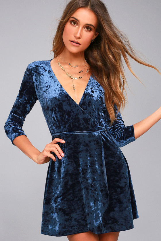 Shine of Your Life Navy Blue Crushed Velvet Wrap Dress 2