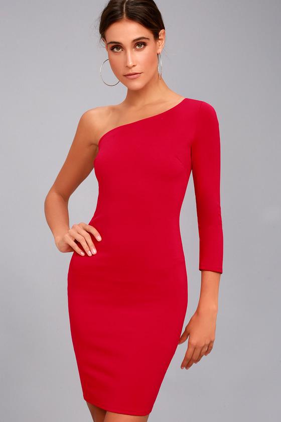 Sexy Red Dress - One-Shoulder Dress - Bodycon Dress