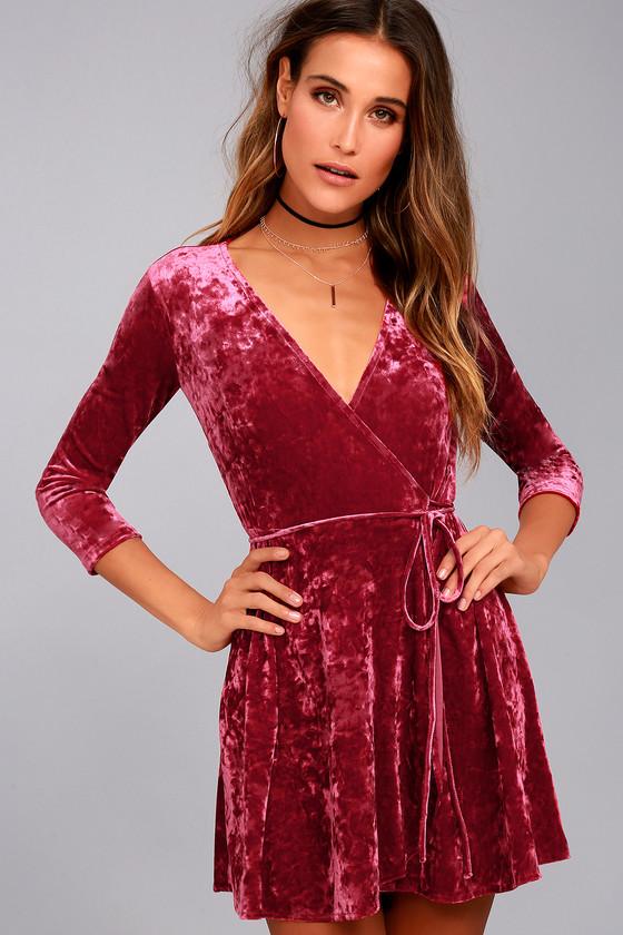 860d4a2aad6 Stunning Velvet Dress - Skater Dress - Wine Red Wrap Dress