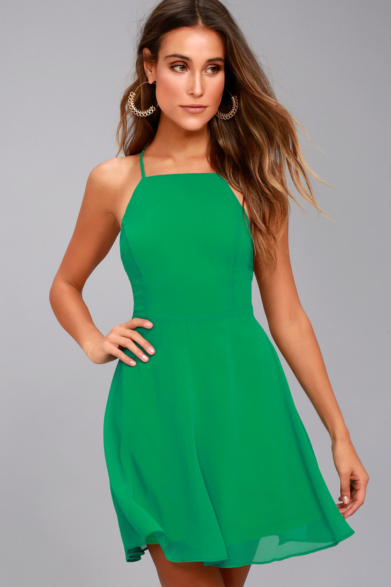 6eb65a39a1 Lovely Green Dress - Skater Dress - Fit and Flare Dress