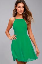 210a1a260e Sexy Forest Green Dress - Backless Dress - Skater Dress