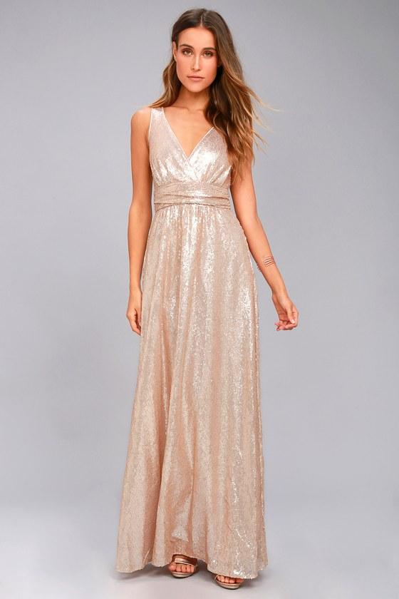 Fan Favorite Matte Rose Gold Sequin Maxi Dress 1