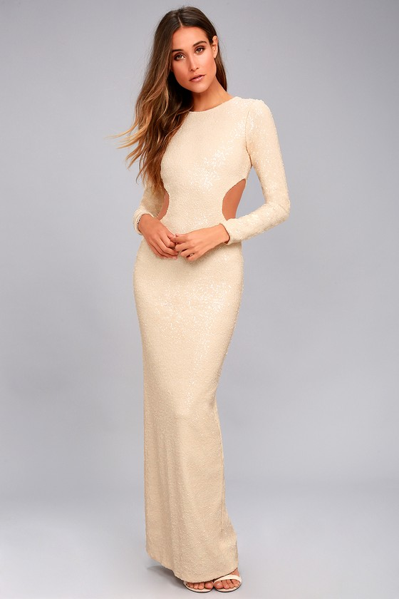 Dress the Population Lara Cream Sequin Cutout Maxi Dress