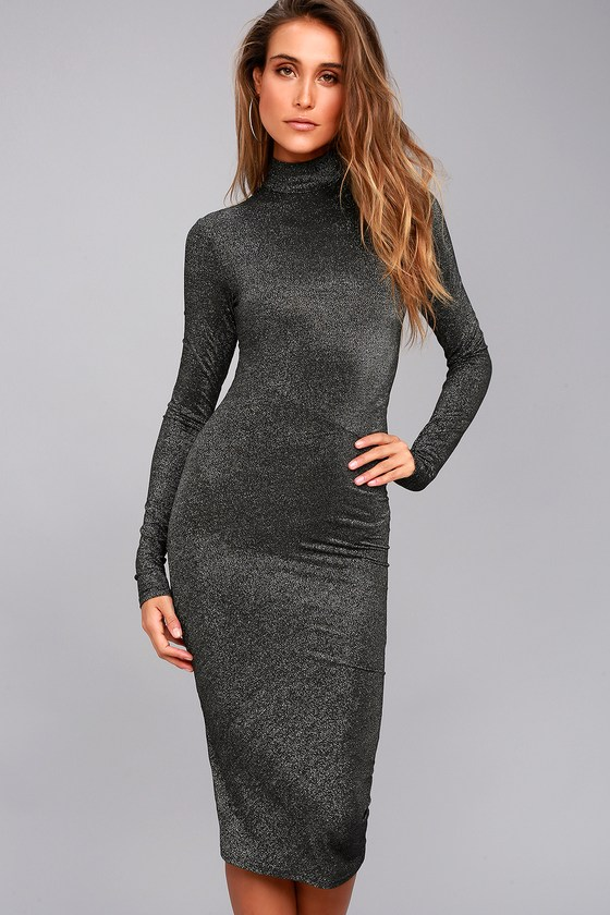 Cheap Monday Glint Black Long Sleeve Midi Dress 1
