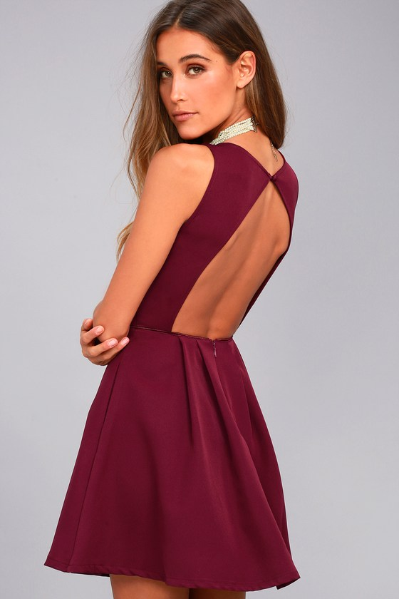 678dec19218b Chic Skater Dress - Burgundy Dress - Backless Dress