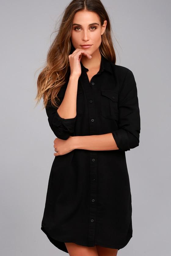 Obey Jett Black Long Sleeve Shirt Dress 3