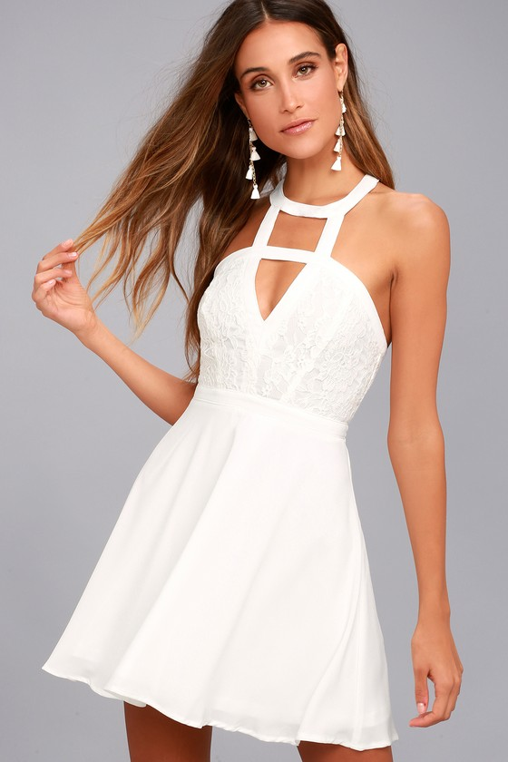a646c087327c Lovely White Lace Dress - Lace Skater Dress - Cutout Dress