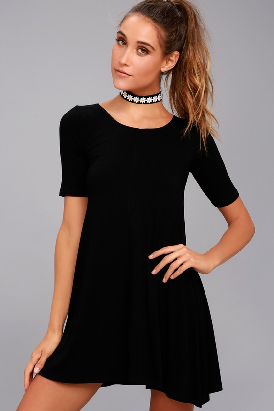 Billabong Nothing to Hide Black Short Sleeve Swing Dress 2