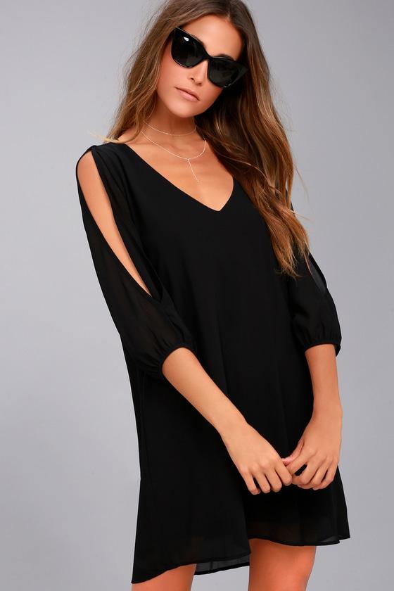 Pretty Black Dress Shift Dress Cold Shoulder Dress