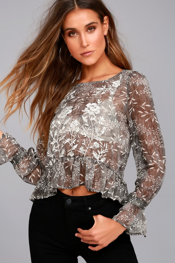 Whispering Winds Grey Floral Print Embroidered Top 8