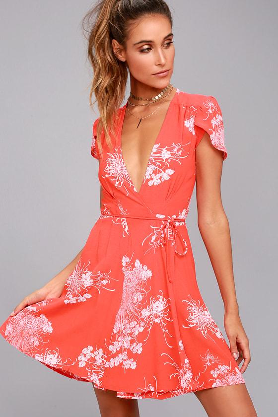 Rollas Dancer Coral Red Floral Print Wrap Dress 1