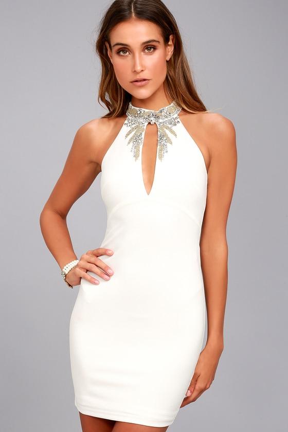 Alluring Evening White Beaded Bodycon Dress 2