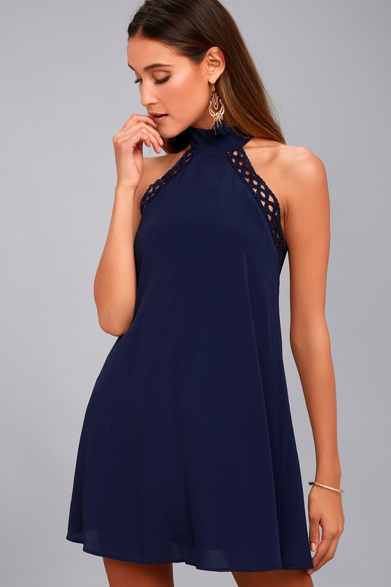 Any Sway, Shape, or Form Navy Blue Lace Halter Dress 8