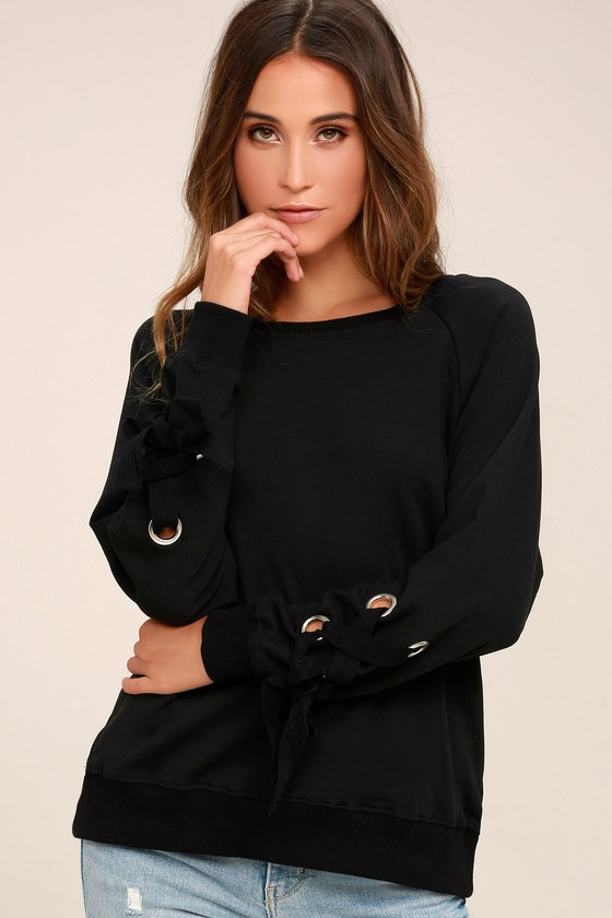 Trendy Black Sweater Lace Up Sleeve Sweater Grommet Top
