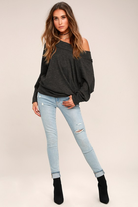 d432b8e0915f83 Free People Palisades Washed Black Off-the-Shoulder Sweater Top
