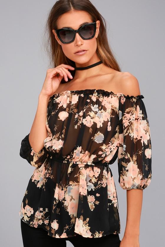 8b3ef333645089 Pretty Floral Print Top - Off-the-Shoulder-Top - Floral Blouse - $42.00