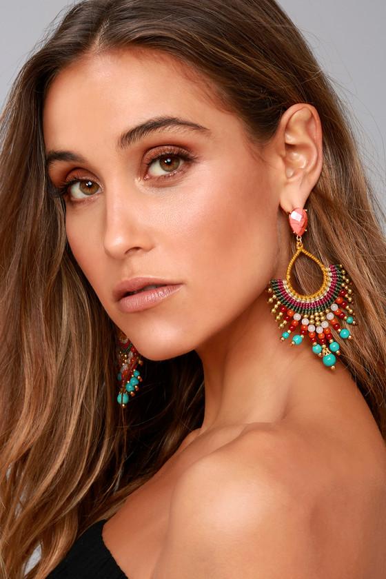 First Sunrise Multi Color Beaded Earrings 2