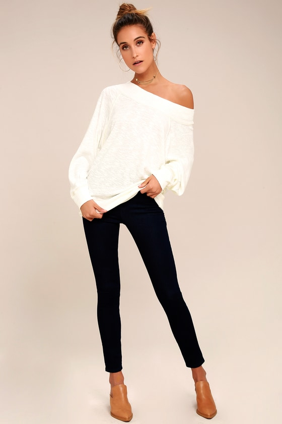 892b8398621b2 Free People Palisades White Off-the-Shoulder Sweater Top
