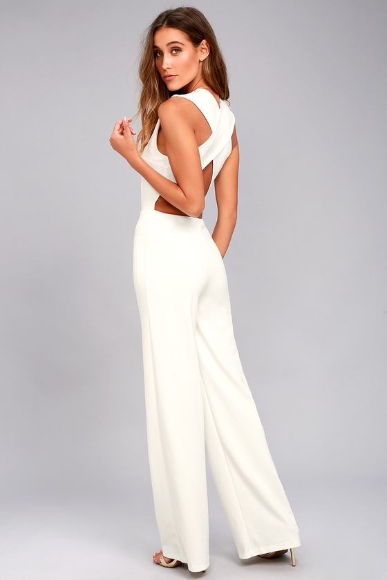 Thinking Out Loud White Backless Jumpsuit 1