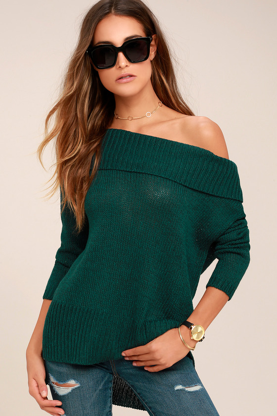 RD Stye Forest Green Sweater - Off-the-Shoulder Sweater