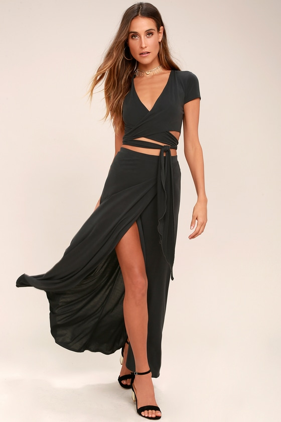 Back in Brooklyn Washed Black Two-Piece Maxi Dress 1
