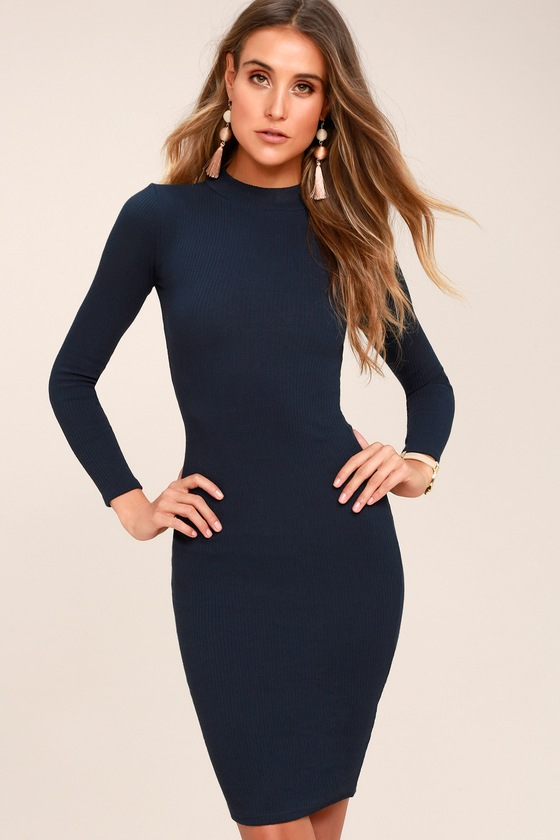 e0d08a08165 Chic Navy Blue Dress - Bodycon Dress - Sweater Dress