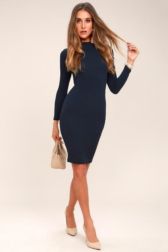Chic Navy Blue Dress - Bodycon Dress - Sweater Dress 4755cf8ea0be