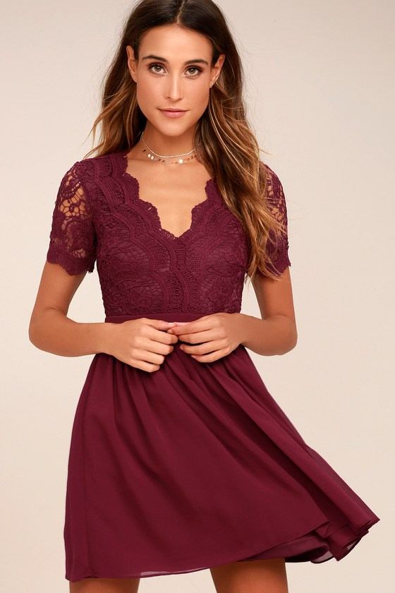 7c5bbcc47b99 Lovely Burgundy Dress - Lace Dress - Lace Skater Dress