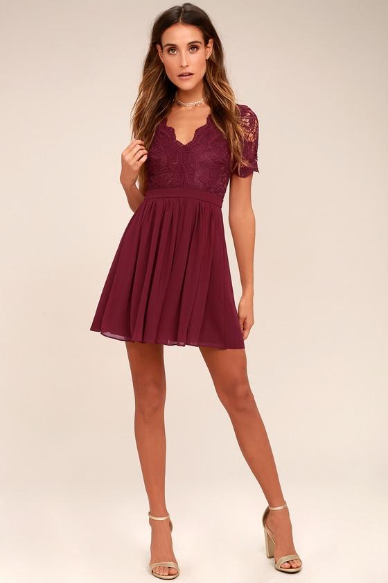 cbee4119d2 Lovely Burgundy Dress - Lace Dress - Lace Skater Dress