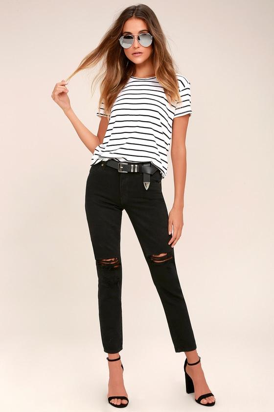 Rollas Miller Black Distressed Ankle Skinny Jeans 1