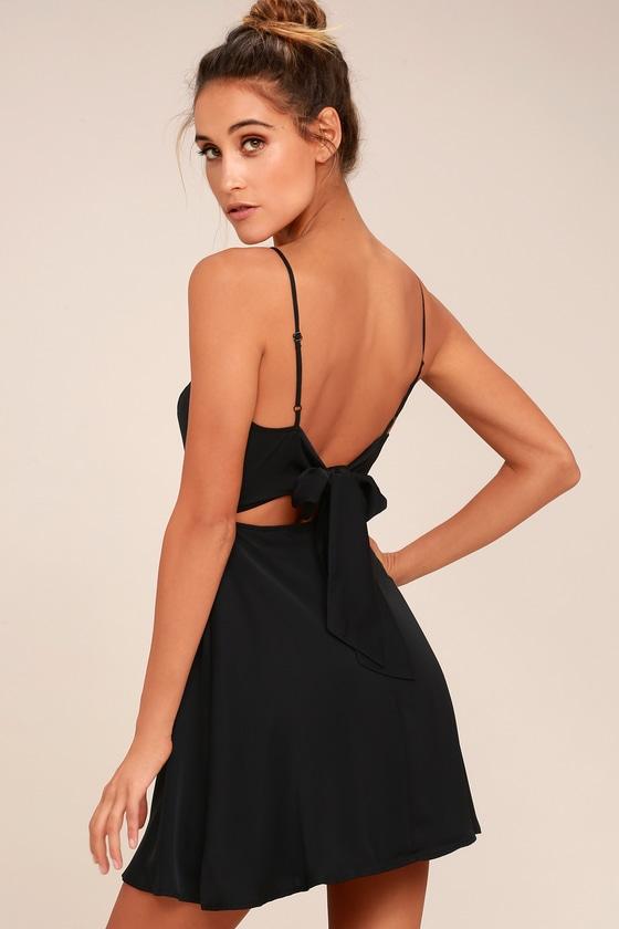 Yours Forever Black Backless Skater Dress 7