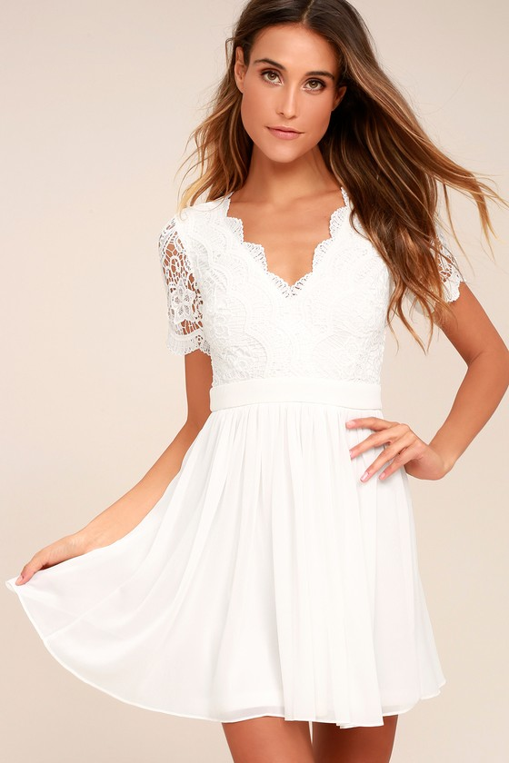 08dc7b6e8c2 Lovely White Lace Dress - Lace Skater Dress - LWD