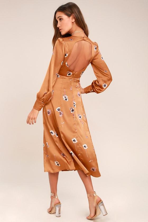 63017140f540 ASTR the Label - Light Brown Floral Print Dress - Midi Dress