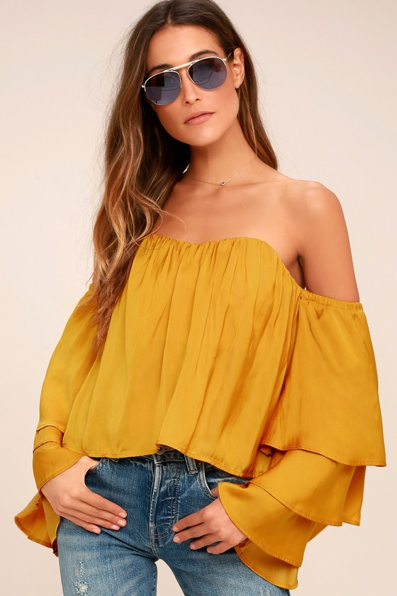 f40661c6a29e54 Chic Mustard Yellow Off-the-Shoulder Top - Crop Top